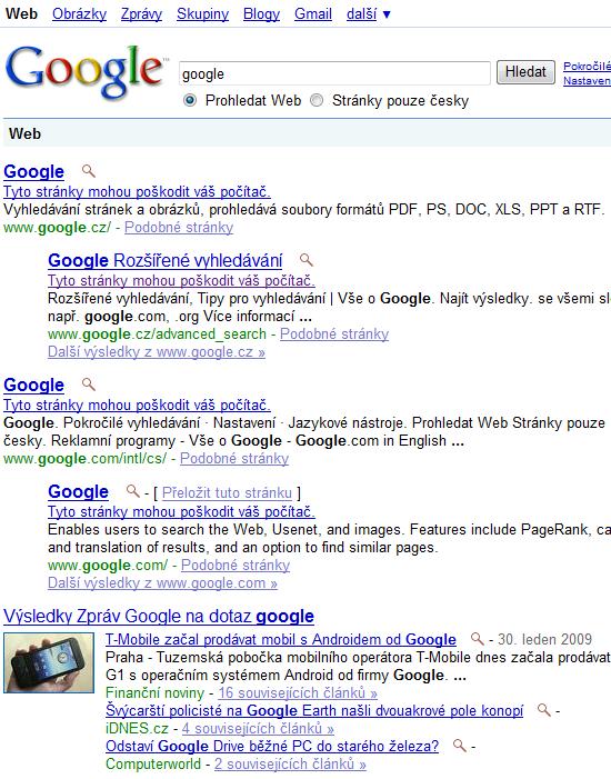 Google varuje sám před sebou