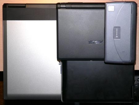 srovnání velikosti notebooků