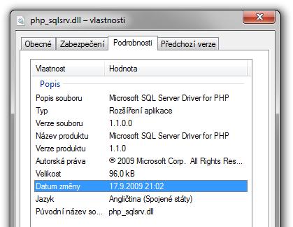 SQL Server Driver 1.1 kompilovaný s VC8