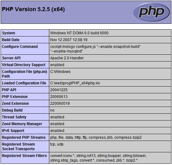 x64 verze PHP a Apache