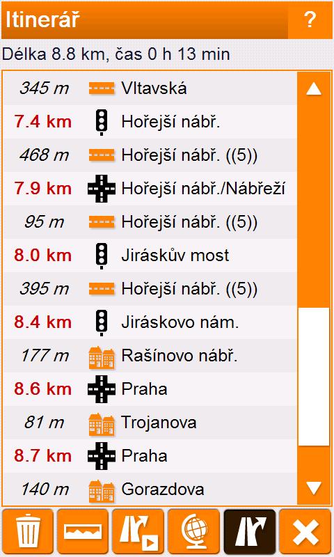 SmartMaps - itinerář trasy