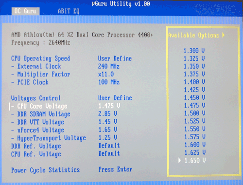 BIOS CPU voltage