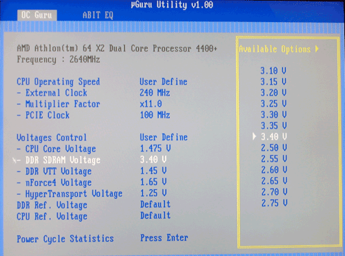 BIOS DDR voltage