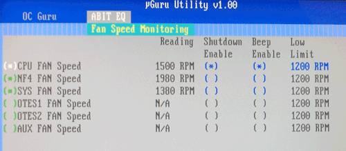 BIOS fan speed