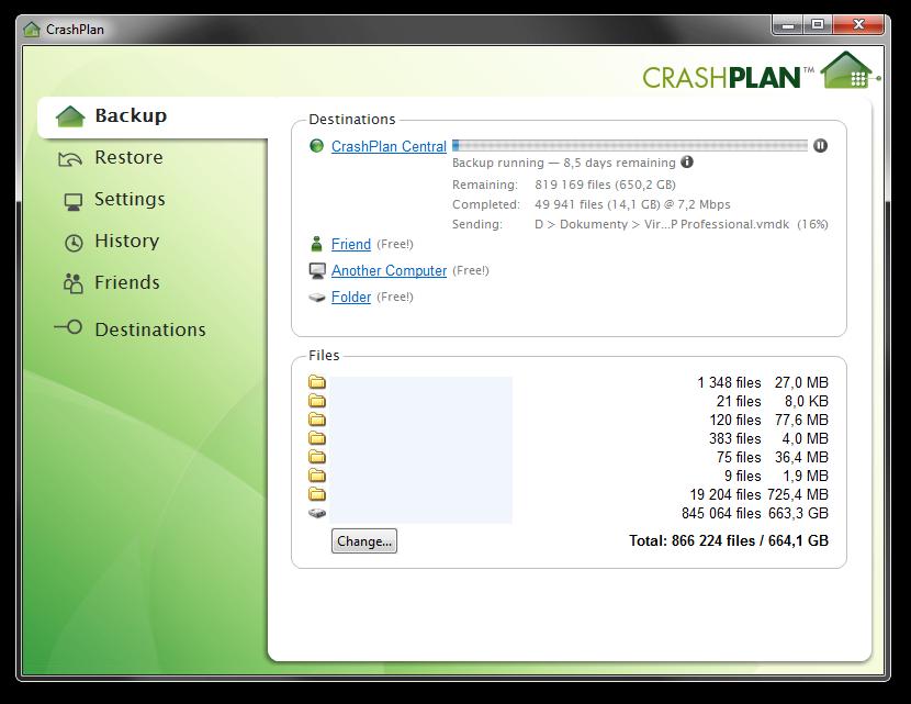 CrashPlan má sice unlimited prostor, ale pomalý upload