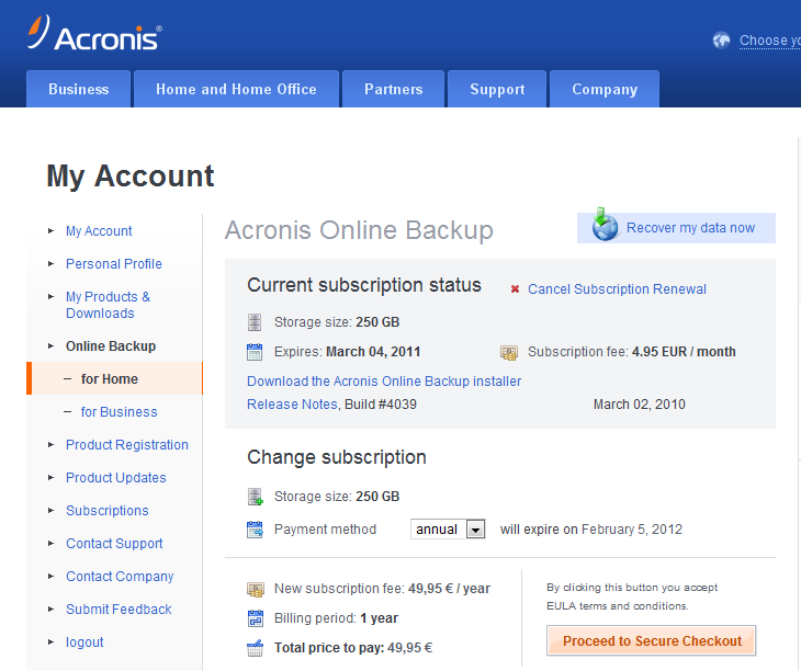 Acronis web