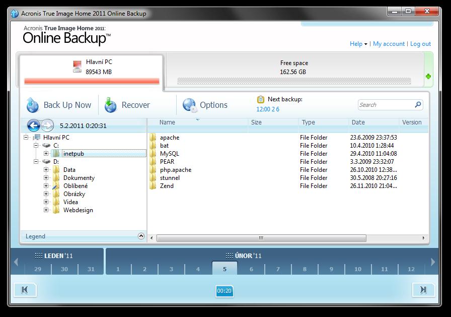 Acronis desktopová aplikace