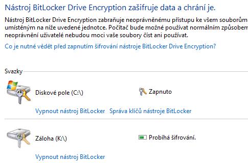 BitLocker zapnutý pro dva pevné disky