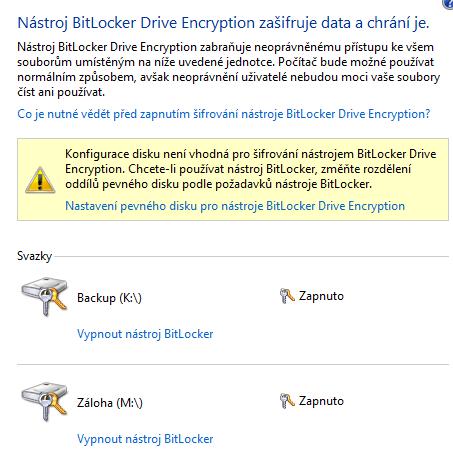 BitLocker - šifrování nesystémových disků