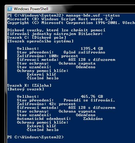 status šifrování disků