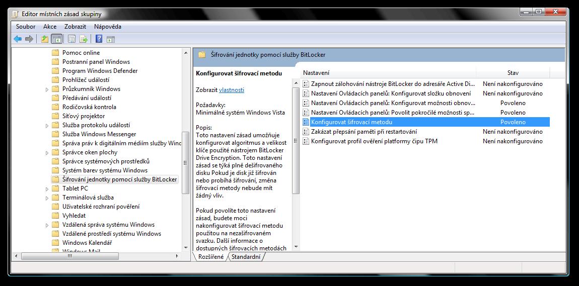 gpedit.msc - nastavení parametrů šifrování