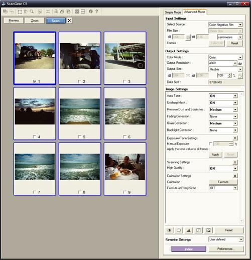 ScanGear CS - pokročilý interface pro skenování