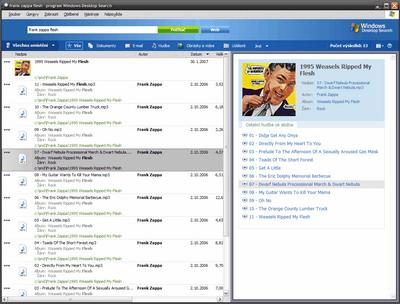 hledání hudby ve Windows Desktop Search