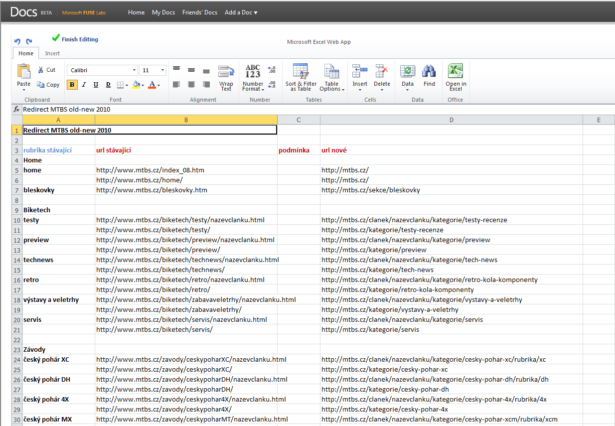 (Microsoft) Excel Web App