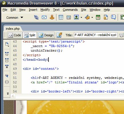 Dreamweaver 8 - hlavní obrazovka