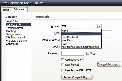 Site FTP properties