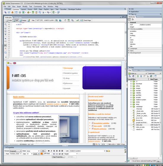 Adobe Dreamweaver CS3 je výborný pro PHP