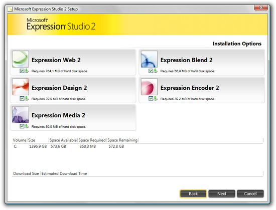 instalace Expression Studio 2