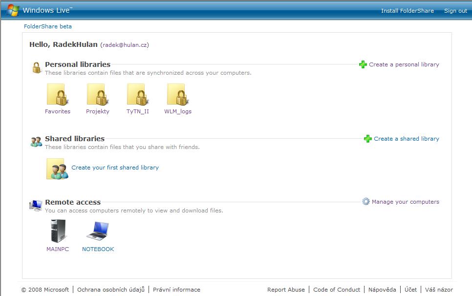 základní obrazovka FolderShare