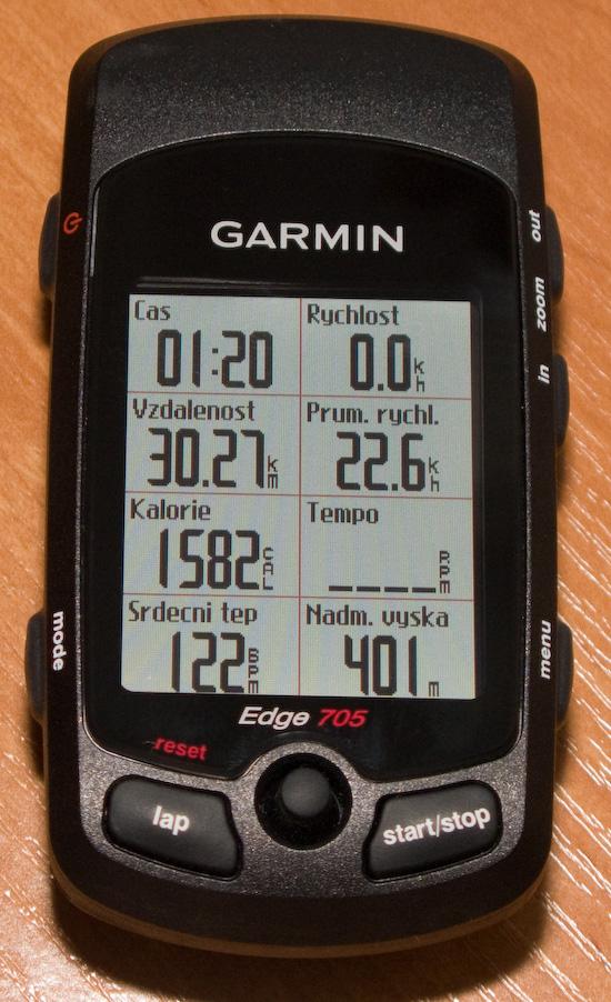 Garmin Edge 705 - pohled na cyklopočítač