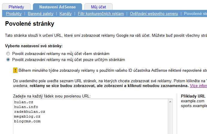 Google AdSense Allowed Sites