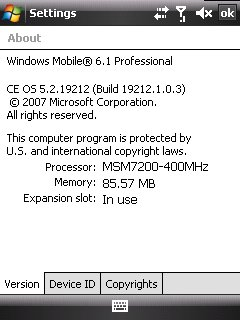 Windows Mobile 6.1 - OS