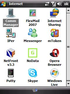vlastní aplikace v sekci Internet