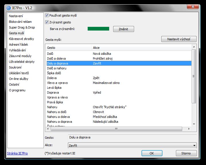 gesta myší v IE7 Pro