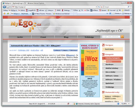 Internet Explorer 7 - pokročilá konfigurace