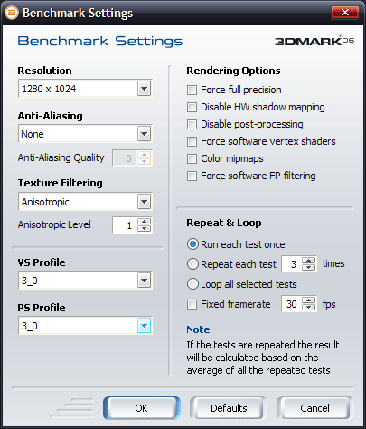 3Dmark06 nastavení