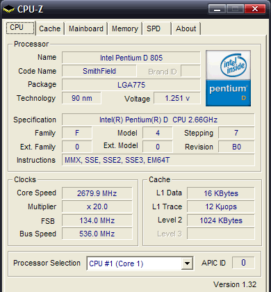 CPUZ - procesor