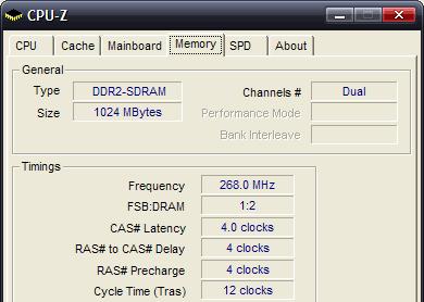 CPUZ - paměť