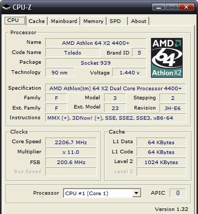 CPUZ - AMD procesor