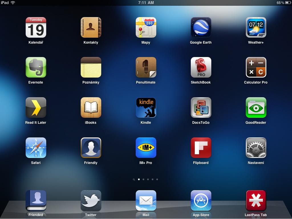 iPad 2 - hlavní obrazovka