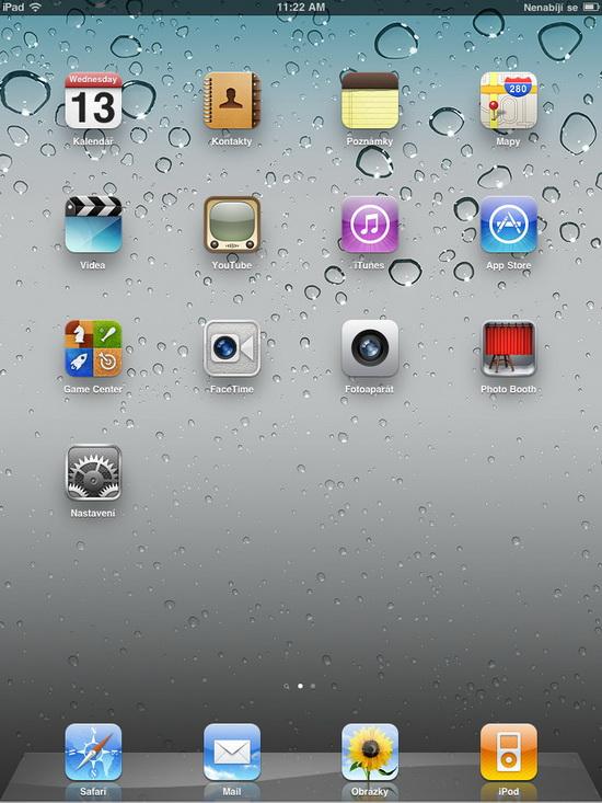hlavní obrazovka iPadu
