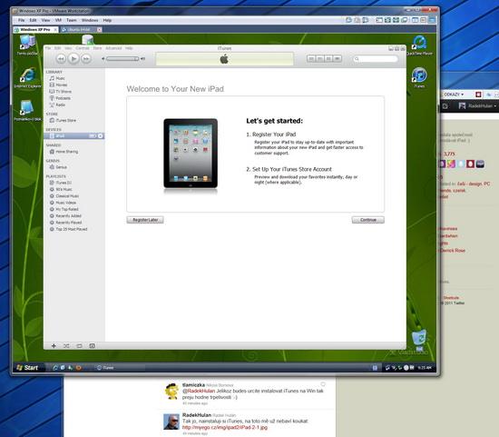 iTunes mazaně instalované do virtuálních Win XP