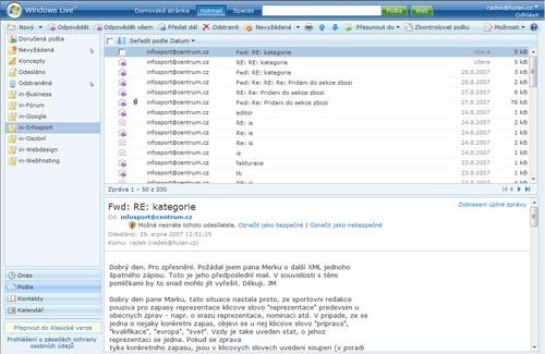 Live.com webový email klient