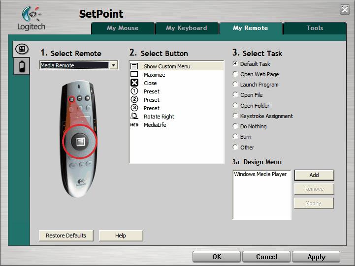 SetPoint klávesnice