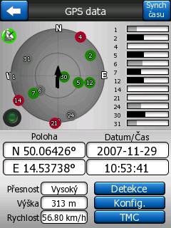 viditelné satelity v iGO