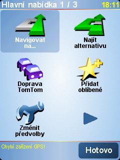 úvodní obrazovka TomTom 6
