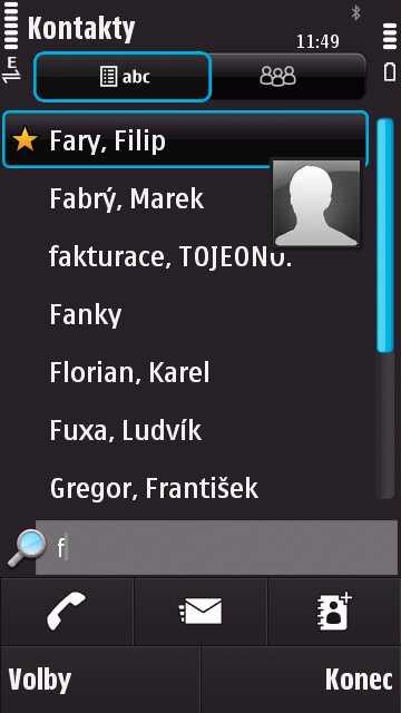 Vyhledávání kontaktů na Nokia N97