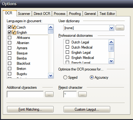 OCR languages