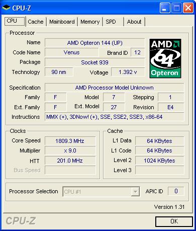 CPUZ 1800MHz