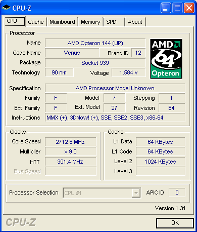 CPUZ 2.7GHz