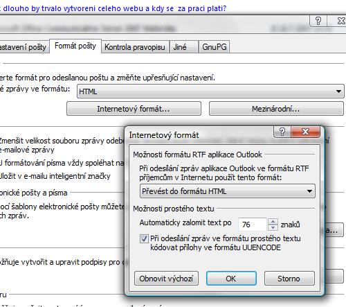 WinMail.dat globální nastavení