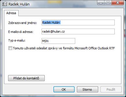WinMail.dat nastavení u kontaktu