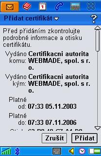 import certifikátu