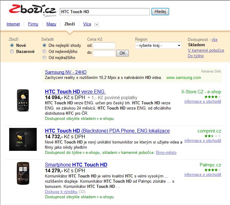 Zboží.cz - hledání HTC Touch HD