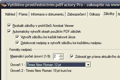 pdfFactory záložky