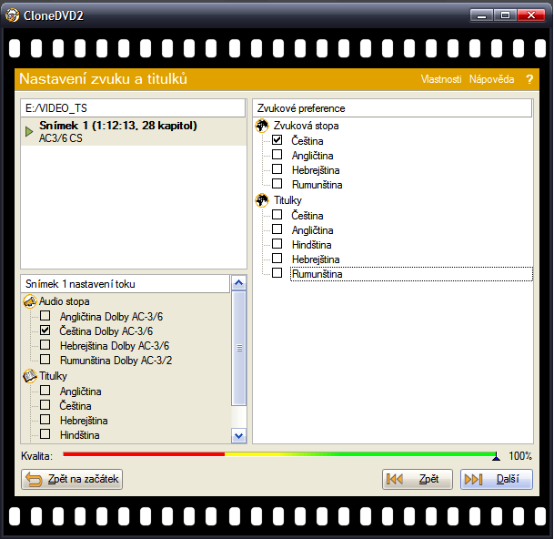 CloneDVD2 - volba audio stop